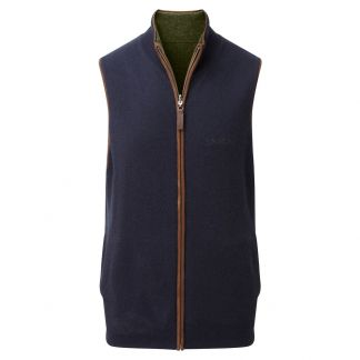 Cordings Schoffel Navy Green Cashmere Reversible Gilet Different Angle 1