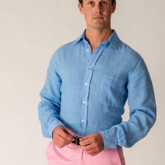 Cordings Cornflower Blue Vintage Linen Shirt Different Angle 1