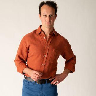 Cordings Rust Vintage Linen Shirt Different Angle 1