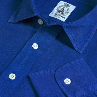 Cordings Cobalt Blue Vintage Linen Shirt Main Image