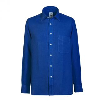 Cordings Cobalt Blue Vintage Linen Shirt Different Angle 1