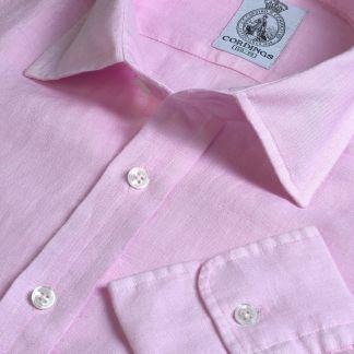 Cordings Soft Pink Vintage Linen Shirt Main Image