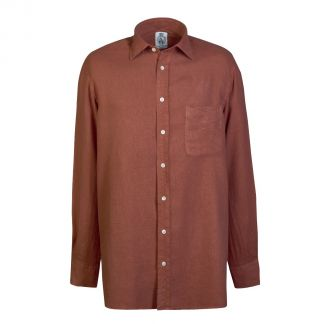 Cordings Rust Vintage Linen Shirt Different Angle 1