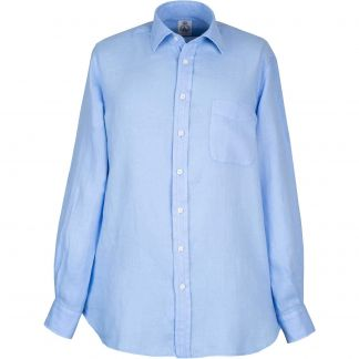 Cordings Cornflower Blue Vintage Linen Shirt Different Angle 1