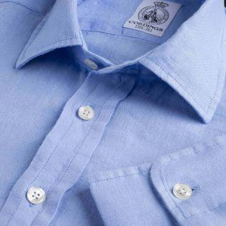 Cordings Cornflower Blue Vintage Linen Shirt Main Image