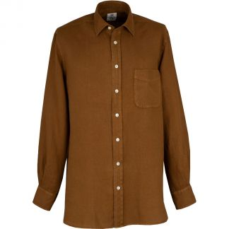 Cordings Bark Brown Vintage Linen Shirt Different Angle 1