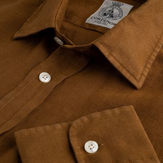 Cordings Bark Brown Vintage Linen Shirt Main Image