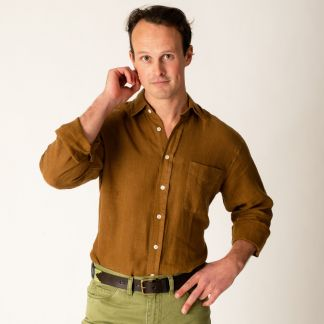 Cordings Bark Brown Vintage Linen Shirt Different Angle 1