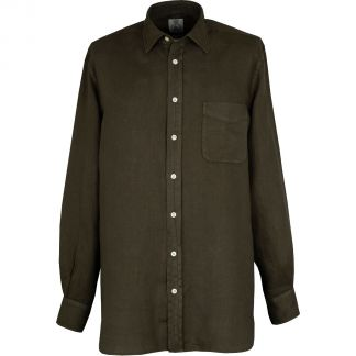 Cordings Forest Green Vintage Linen Shirt Different Angle 1