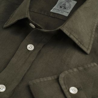 Cordings Forest Green Vintage Linen Shirt Main Image