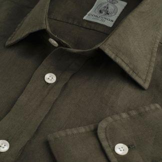 Cordings Forest Green Vintage Linen Shirt Main Image