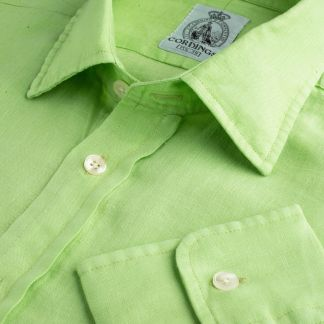Cordings Lime Green Vintage Linen Shirt Main Image