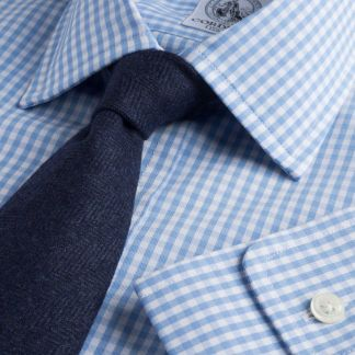 Cordings Sky Blue Grateley Gingham Poplin Shirt  Main Image