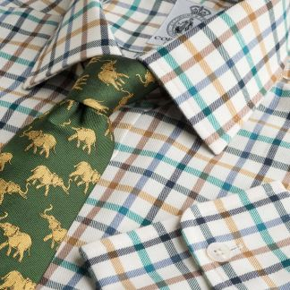 Cordings Navy Green Peter Check Tattersall Shirt Main Image