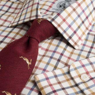 Cordings Navy Red Peter Check Tattersall Shirt Main Image