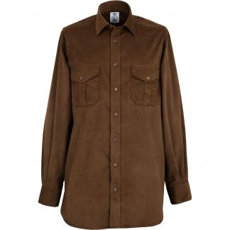 Cordings Brown Needlecord Shirt Different Angle 1