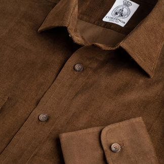 Cordings Brown Needlecord Shirt Main Image
