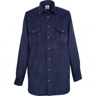 Cordings Navy Needlecord Shirt Different Angle 1
