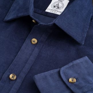Cordings Navy Needlecord Shirt Main Image