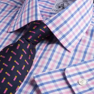 Cordings Blue Pink Rye Check Shirt Main Image