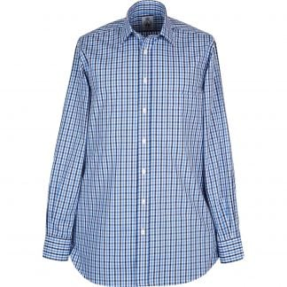 Cordings Navy Light Blue Rye Poplin Shirt Different Angle 1