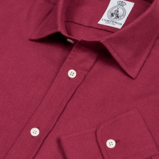 Cordings Burgundy Royal Brushed Shirt Main Image