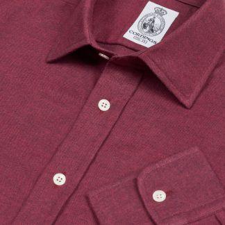 Cordings Wine Royal Brushed Shirt Main Image