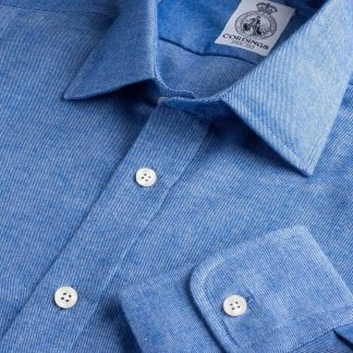 Cordings Sky Blue Royal Brushed Shirt Main Image
