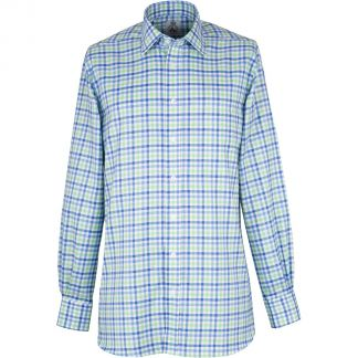Cordings Blue and Green Burford Oxford Check Shirt  Different Angle 1