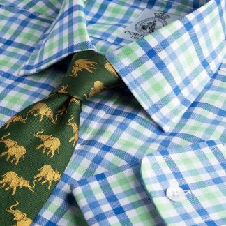 Cordings Blue and Green Burford Oxford Check Shirt  Main Image