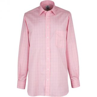 Cordings Pink Prince of Wales Poplin Check Shirt Different Angle 1
