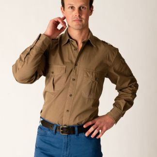 Cordings Dark Khaki Cotton Kalahari Safari Shirt Different Angle 1