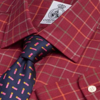 Cordings Wine Burgundy Cromer Tattersall Shirt Main Image