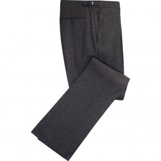 Cordings Grey English Flannel Side Adjuster Trousers Main Image