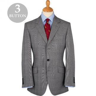 Cordings Grey 8oz Three Button Prince of Wales Alfred Suit Main Image