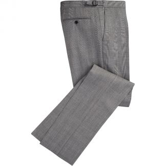 Cordings Grey 8oz Three Button Prince of Wales Alfred Suit Different Angle 1