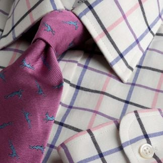 Cordings Blue Pink Large Overcheck Tattersall Shirt  Main Image