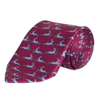 Cordings Red Blue Running Hare Printed Silk Tie  Main Image