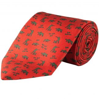 Cordings Red and Green Silent Hunter Printed Silk Tie Main Image