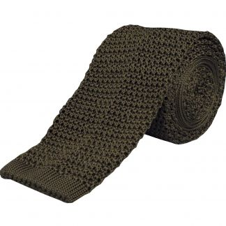 Cordings Olive Green Heavy Silk Knitted Tie  Main Image
