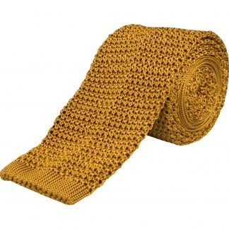 Cordings Gold Heavy Silk Knitted Tie  Main Image