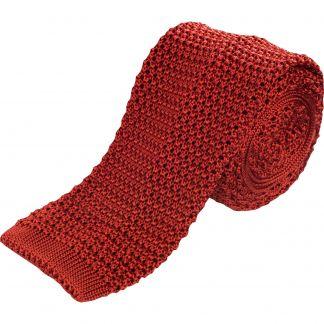 Cordings Rust Heavy Silk Knitted Tie  Main Image