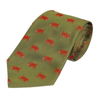 Cordings Olive and Red Wild Boar Silk Tie Main Image