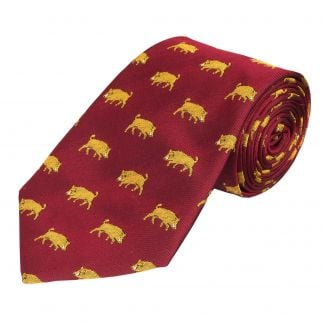 Cordings Red Yellow Wild Boar Silk Tie Main Image