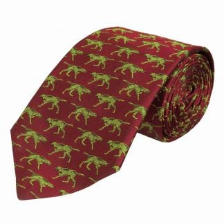 Cordings Wine Silent Pointer Silk Tie  Different Angle 1