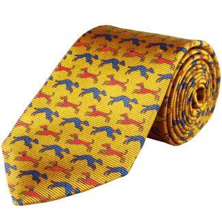 Cordings Gold Speeding Hound Printed Silk Tie  Main Image