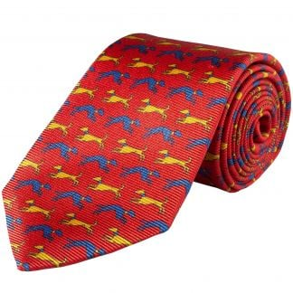 Cordings Red Speeding Hound Printed Silk Tie  Different Angle 1