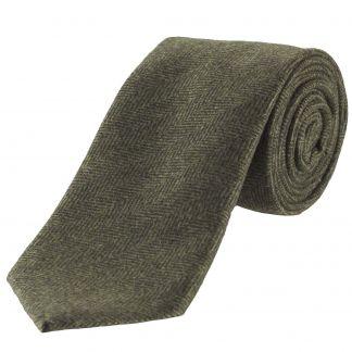 Cordings Olive Herringbone Cashmere Tie Main Image