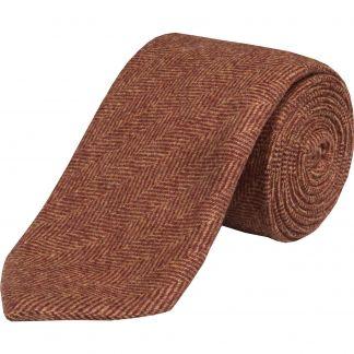 Cordings Rust Herringbone Cashmere Tie Main Image