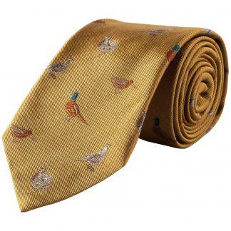 Cordings Gold Flock of Birds Silk Tie  Main Image
